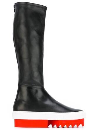 women boots platform boots leather black shoes