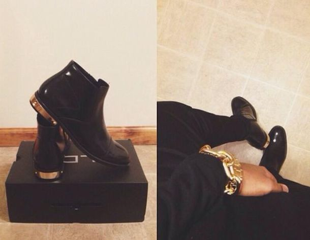 Shoes: clothes, black, gold, boots, ankle boots, ankle boots ...