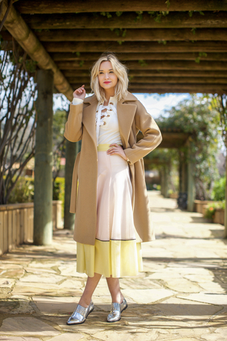 late afternoon blogger coat shirt skirt sunglasses