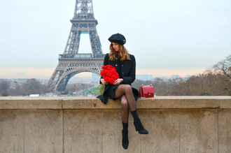 vogue haus blogger coat dress shoes bag beret black coat red bag sock boots boots winter outfits