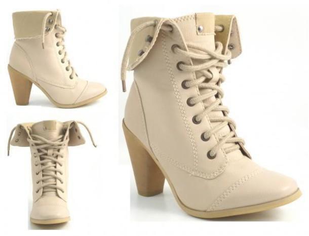 shoes beige shoelace boots booties lookbook