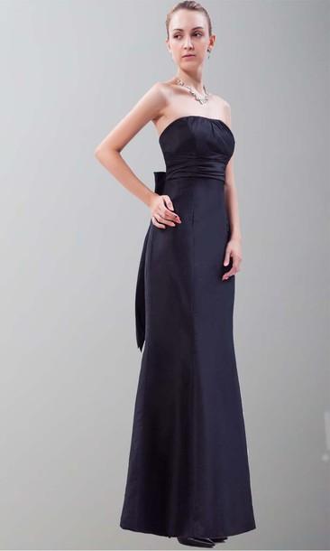 mermaid prom dress black dress trumpet dress bow knot dress long prom dress long bridesmaid dress taffeta prom dresses empire waist dress