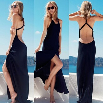 dress summah breeeze open back black black dress low back