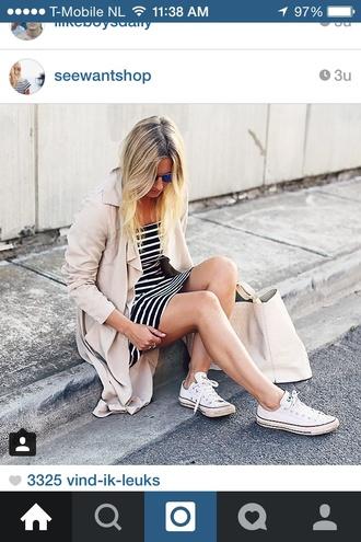 coat seewantshop fashion beige summer spring jacket converse blogger trench coat dress