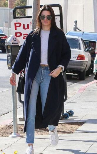coat sneakers jeans kendall jenner top