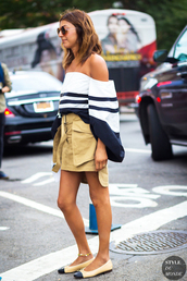 le fashion image,blogger,sunglasses,top,skirt,striped off shoulder top,striped top,stripes,off the shoulder,off the shoulder top,mini skirt,camel skirt,asymmetrical,asymmetrical skirt,summer outfits,round sunglasses,streetstyle,chanel,flats,cap toe,ballet flats