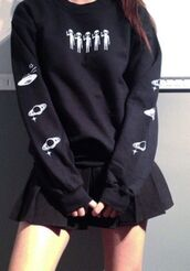 sweater,alien,spaceship,planets,space,black,top,long sleeves,hipster,tumblr,grunge,dark,dark colors,punk,emo,cute,cool,lovely,aesthetic,hot topic,aesthetic grunge,tumblr girl