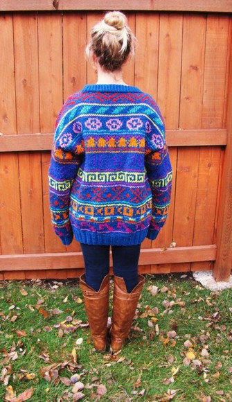 sweater knitted cardigan colorful tribal