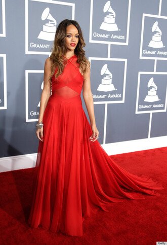 dress rihanna red dress grammys love red chiffon hot sexy flowy rihanna 2013 grammy