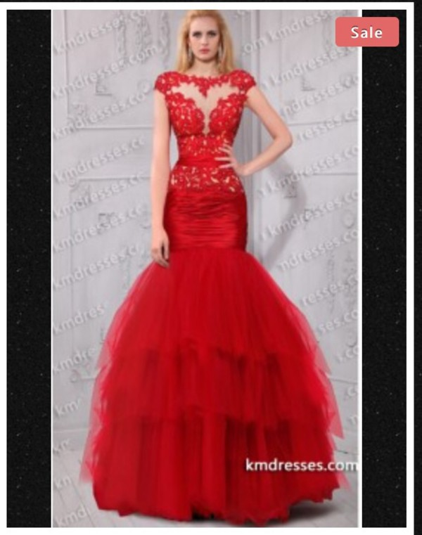 red dress lace dress prom dress mermaid prom dress