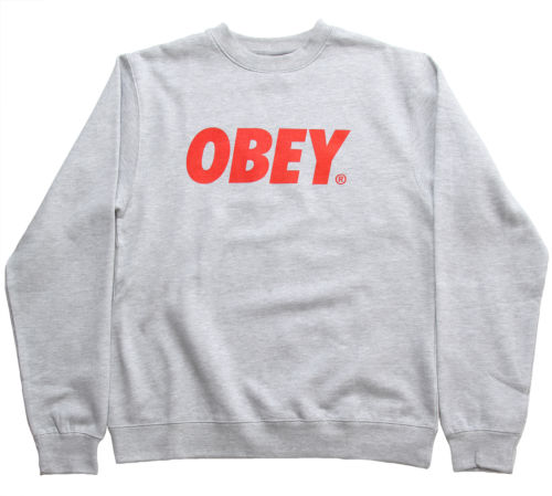 Obey Font Men's Crew Neck Basic Sweatshirt Heather Grey Red | eBay