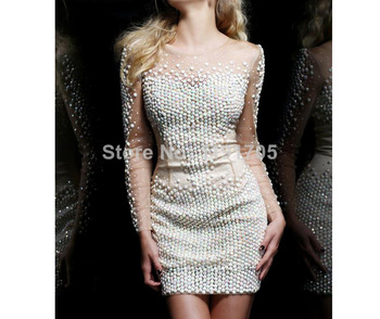 Aliexpress.com : Buy Free shipping Sexy Strapless Beading White Lace Prom dress 2014  Ball Gown Mini Party Dress 2014 New Arrival from Reliable dress tool suppliers on Bridalhot