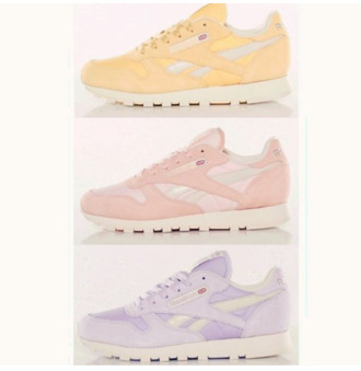 shoes reebok pastel reebok classics purple yellow pink trainers
