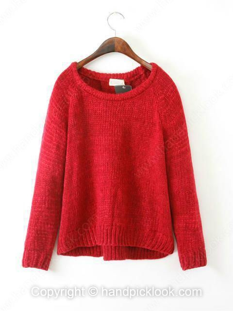 Red Round Neck Long Sleeve Wool Pullovers Sweater - HandpickLook.com