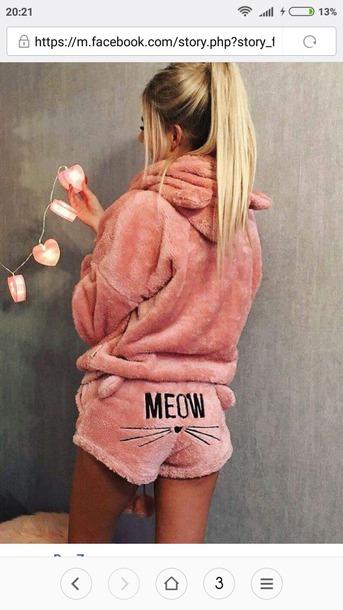 pajamas cats pyjama shorts meow pink