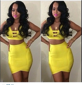 yellow two piece yellow dress