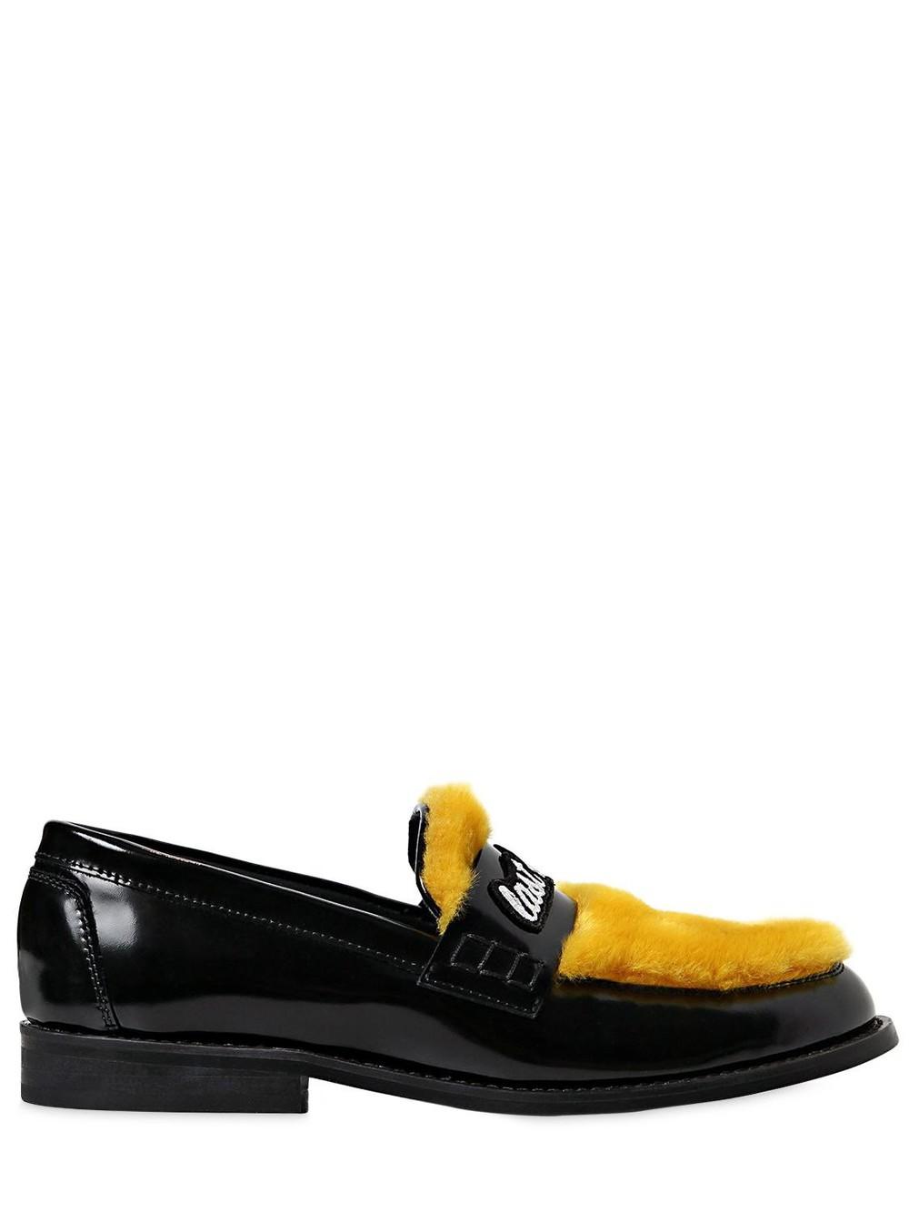 JOSHUA SANDERS 20mm Last Dance Leather Loafers in black / yellow