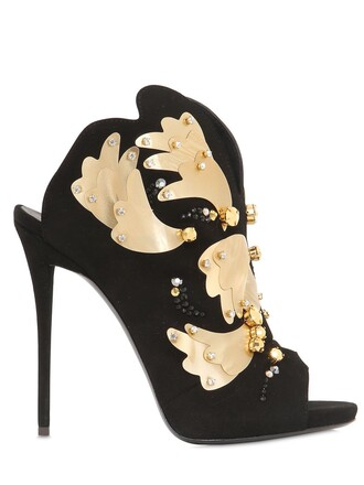 metal sandals suede black shoes