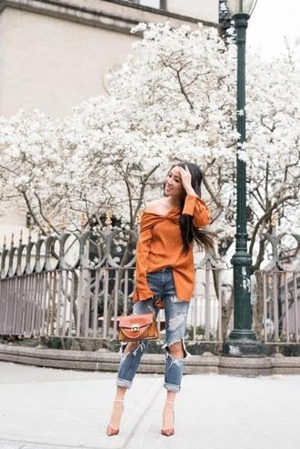 wendy's lookbook blogger blouse jeans bag shoes jewels orange top ripped jeans orange bag pumps