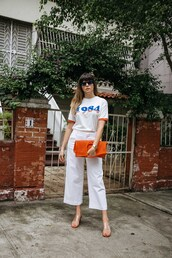 t-shirt,sunglasses,tumblr,white t-shirt,denim,jeans,white jeans,cropped jeans,sandals,bag,orange,shoes,pants