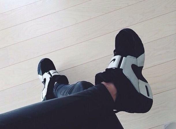 shoes, nike, black, white, velcro strap