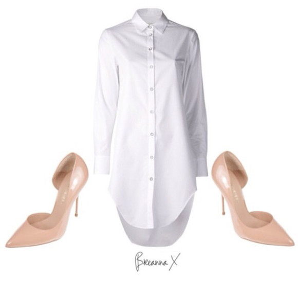 white shirt high heels nude heels kurt gieger shirt dress