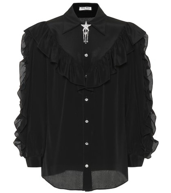 Miu Miu Embellished silk shirt in black