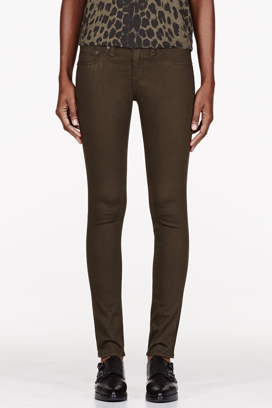 rag and bone olive sateen legging jeans