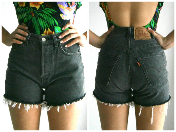 Black High Waisted Levi Shorts by AtticApparel on Etsy