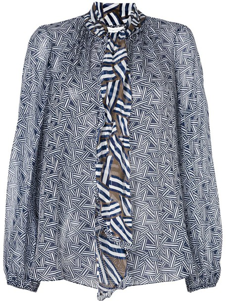 Diane Von Furstenberg blouse printed blouse blue top
