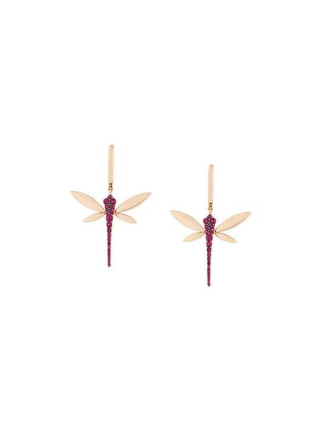 Anapsara rose gold rose women dragonfly earrings gold grey metallic jewels
