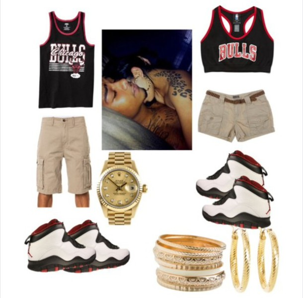 Matching outfits. chicago bulls matching couples jordans shoes - Wheretoget