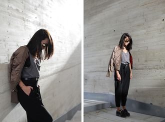 lucitisima blogger sunglasses tank top pants bomber jacket quilted satin bomber
