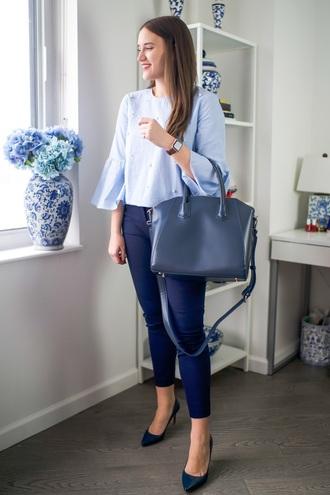 covering bases curvy blogger shirt pants shoes bag jewels handbag skinny jeans pumps