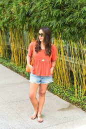 adoredbyalex,blogger,t-shirt,shorts,shoes,bag,sunglasses,jewels,sandals,red top,denim shorts,shoulder bag,orange bag,summer outfits