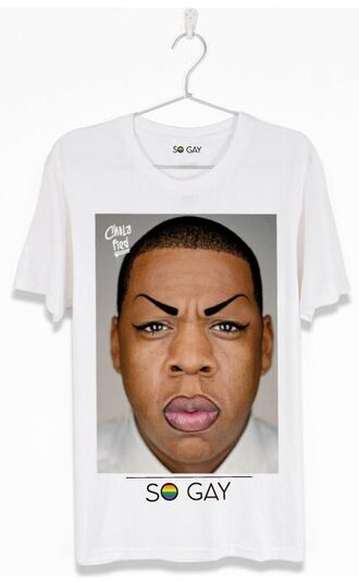 t-shirt hip hop rap lgbt pride funny cool style so gay quote on it graphic tee jay z celebrity