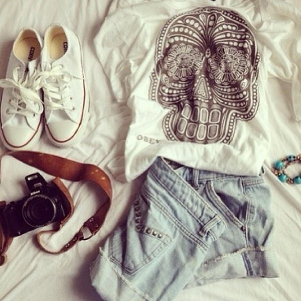 shirt obey t-shirt shorts converse skull shoes blouse hat t-shirt skull t-shirt
