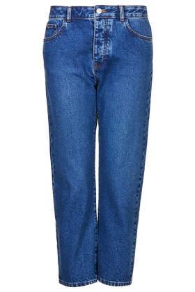 MOTO Blue Wash Girlfriend Jeans - Girlfriend Jeans - Jeans - Clothing- Topshop