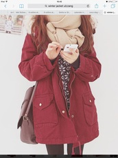 jacket,winter jacket,winter outfits,ulzzang,cozy,burgundy
