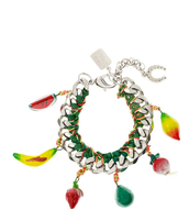 summer,bracelets,fruits,silver,yellow jewels,red jewels,green jewels,grey jewels,jewels