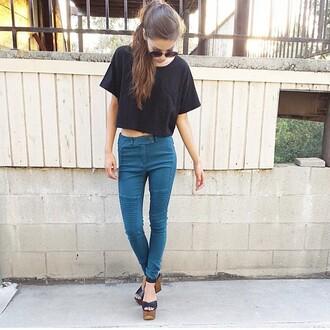 jeans teal jeggings leggings top