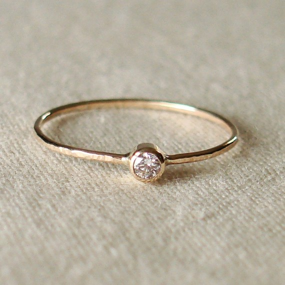 BACKORDERED   Thread of Gold  Tiny Stacking Ring with par MARYJOHN