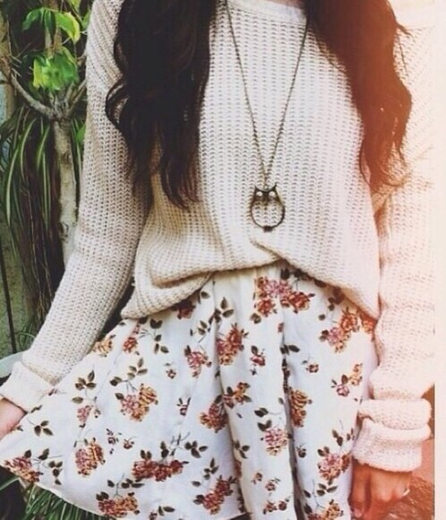 skirt girly sweater hipster jewels floral skirt crochet cream tumblr sweater tumblr outfit cute outfits cute sweaters oversized sweater