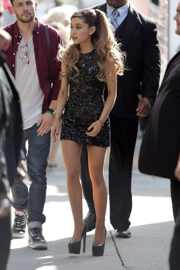 sparkle black black dress ariana grande shoes heels mini dress high-heels dress black dress ariana grande dress black sequin dress