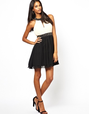 Little Mistress | Little Mistress Embellished Skater Dress at ASOS