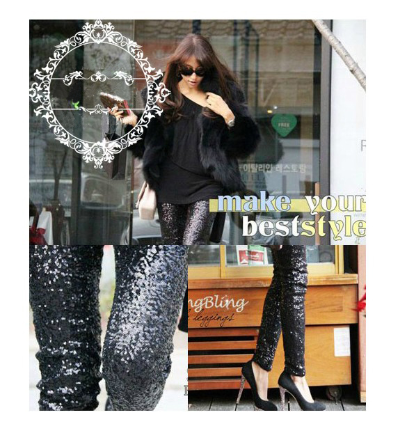 Sequined Gold Silver Leggings Pants | Pariscoming