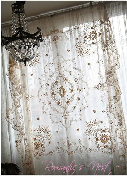 embroidered vintage scarf curtains ivory lace curtains antique