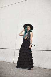 feral creature,blogger,hat,jacket,skirt,jewels