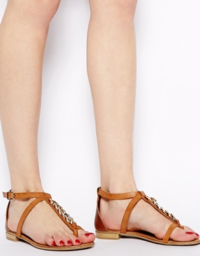 Faith | Faith Gold Sole Brown Flat Sandals at ASOS