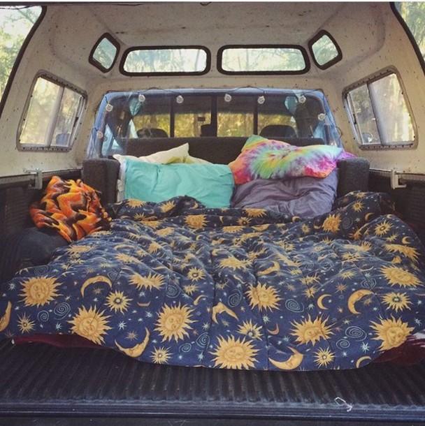 Home Accessory Bedding Navy Blanket Moon Sun Yellow